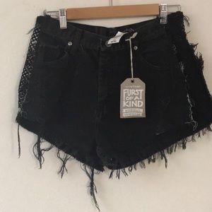 NWT🎈LF Furst of a kind distressed mesh shorts